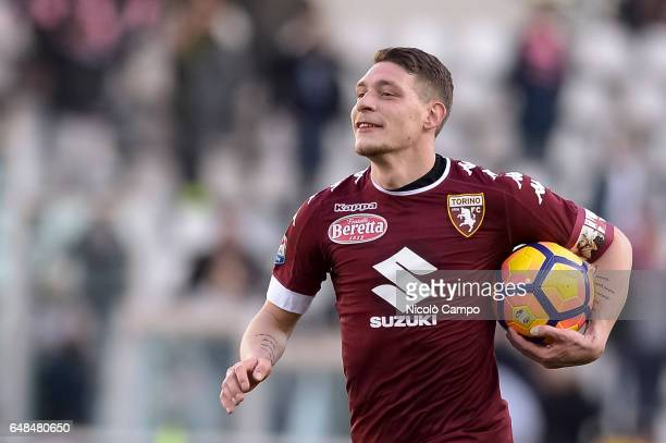 Andrea Belotti of Torino FC holds the matchball after scoring a hatrick at the end of the Serie A football match between Torino FC and US Citta di...