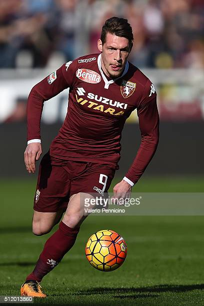 Andrea Belotti of Torino FC in action during the Serie A between Torino FC and Carpi FC at Stadio Olimpico di Torino on February 21 2016 in Turin...