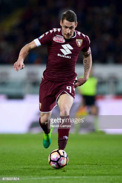 Andrea Belotti of Torino FC in action during the Serie A football match between Torino FC and UC Sampdoria Final result is 11
