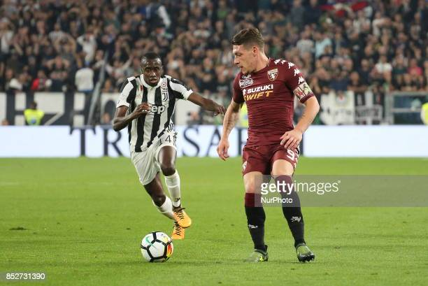 Andrea Belotti of Torino FC in action during the Serie A football match between Juventus FC and Torino FC at Allianz Stadium on 23 September 2017 in...
