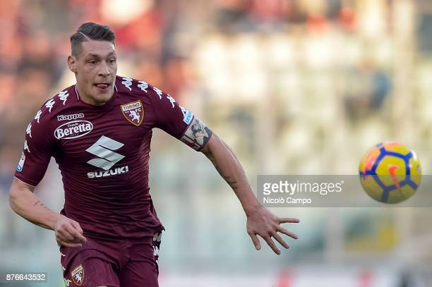 Andrea Belotti of Torino FC in action during the Serie A football match between Torino FC and AC ChievoVerona The match ended in a 11 tie