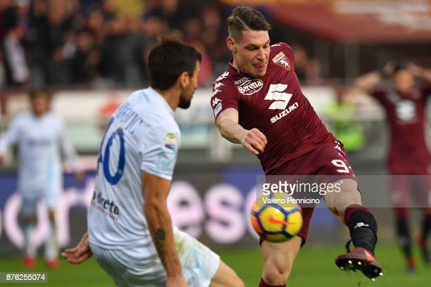 Andrea Belotti of Torino FC in action during the Serie A match between Torino FC and AC Chievo Verona at Stadio Olimpico di Torino on November 19...
