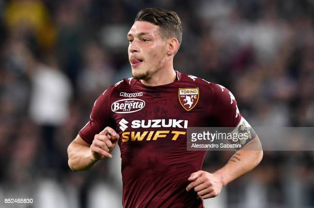 Andrea Belotti of Torino FC looks on during the Serie A match between Juventus and Torino FC on September 23 2017 in Turin Italy