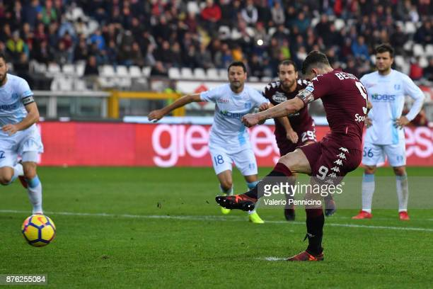 Andrea Belotti of Torino FC misses a penalty during the Serie A match between Torino FC and AC Chievo Verona at Stadio Olimpico di Torino on November...