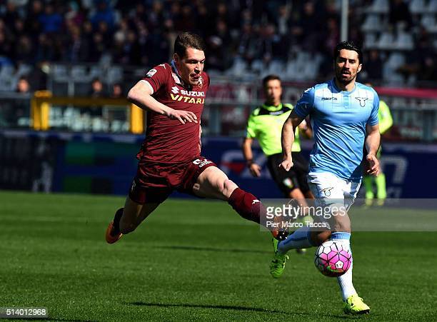 Andrea Belotti of Torino FC pulls the ball during the Serie A match between Torino FC and SS Lazio at Stadio Olimpico di Torino on March 6 2016 in...