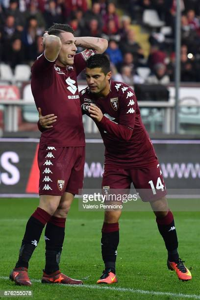 Andrea Belotti of Torino FC reacts after misses a penalty during the Serie A match between Torino FC and AC Chievo Verona at Stadio Olimpico di...