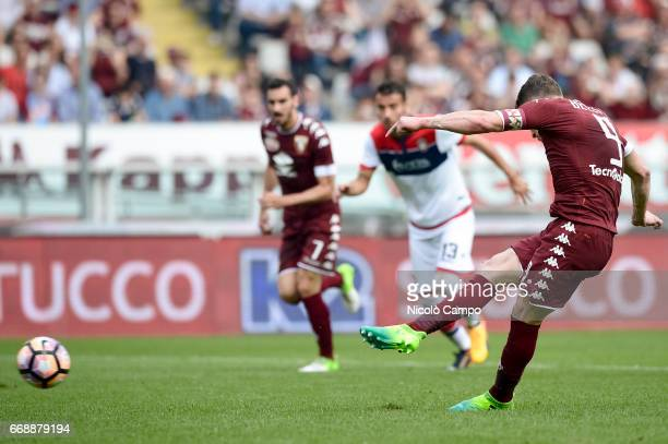 Andrea Belotti of Torino FC scores a goal on penalty during the Serie A football match between Torino FC and FC Crotone Final result is 11