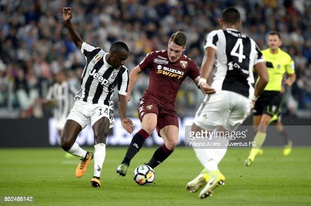 Andrea Belotti of Torino in action during the Serie A match between Juventus and Torino FC on September 23 2017 in Turin Italy