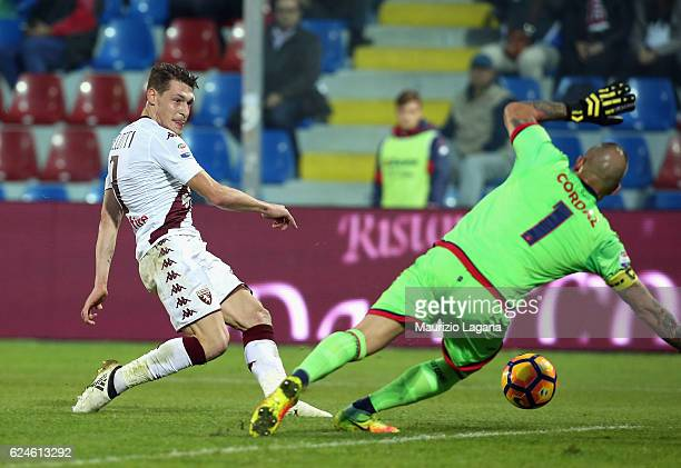 Andrea Belotti of Torino scores his team's opening goal during the Serie A match between FC Crotone and FC Torino at Stadio Comunale Ezio Scida on...