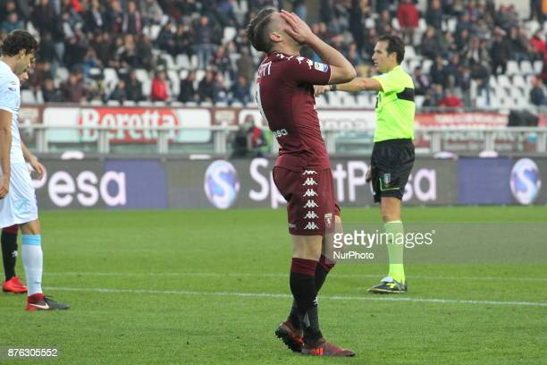 Andrea Belotti regretted after a missed opportunity during the Serie A football match between Torino FC and AC Chievo Verona at Olympic Grande Torino...