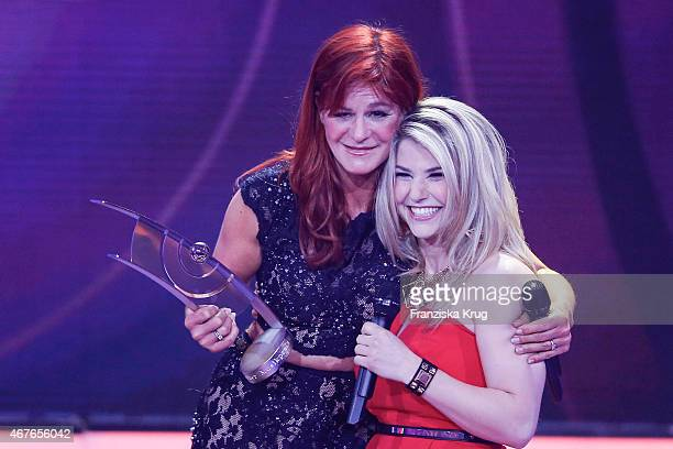 Andrea Berg and Beatrice Egli attend the Echo Award 2015 show on March 26 2015 in Berlin Germany