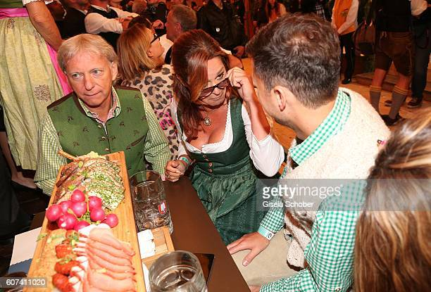 Andrea Berg and her husband Uli Ulrich Ferber and her stepson and manager Andreas Ferber during the opening of the oktoberfest 2016 at the...