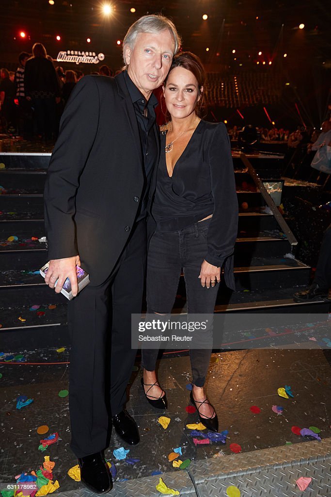 Andrea Berg and her husband Uli, Ulrich Ferber are seen on stage at the 'Das grosse Fest der Besten' tv show at Velodrom on January 7, 2017 in Berlin, Germany.