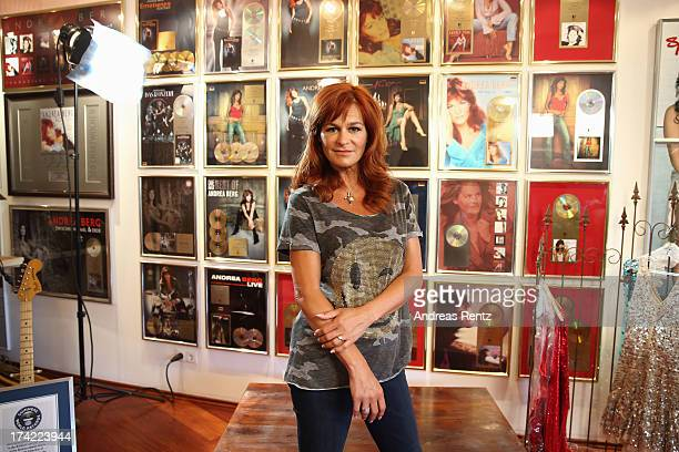 Andrea Berg poses in her studio prior to the Andrea Berg Open Air festival 'Heimspiel' at comtech Arena on July 20 2013 in Aspach near Stuttagrt...