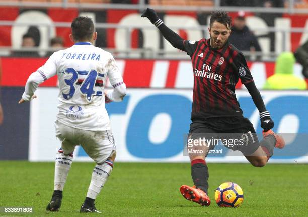 Andrea Bertolacci of AC Milan kicks a ball during the Serie A match between AC Milan and UC Sampdoria at Stadio Giuseppe Meazza on February 5 2017 in...