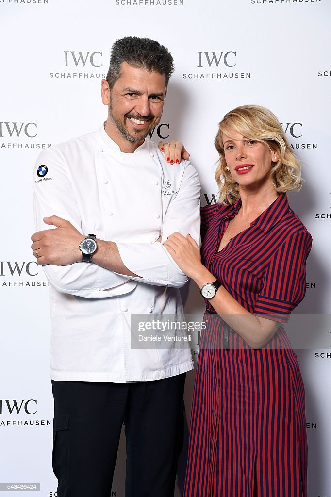 Andrea Berton and <a gi-track='captionPersonalityLinkClicked' href=/galleries/search?phrase=Alessia+Marcuzzi&family=editorial&specificpeople=3958121 ng-click='$event.stopPropagation()'>Alessia Marcuzzi</a> attends IWC Boutique Opening Dinner on June 28, 2016 in Milan, Italy.