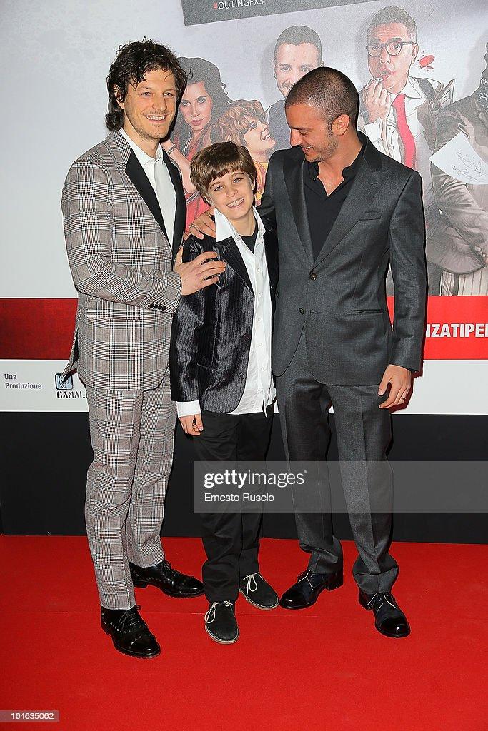 Andrea Boccia, Lorenzo Zurzolo and Nicolas Vaporidis attend the 'Outing' premiere at Cinema Adriano on March 25, 2013 in Rome, Italy.