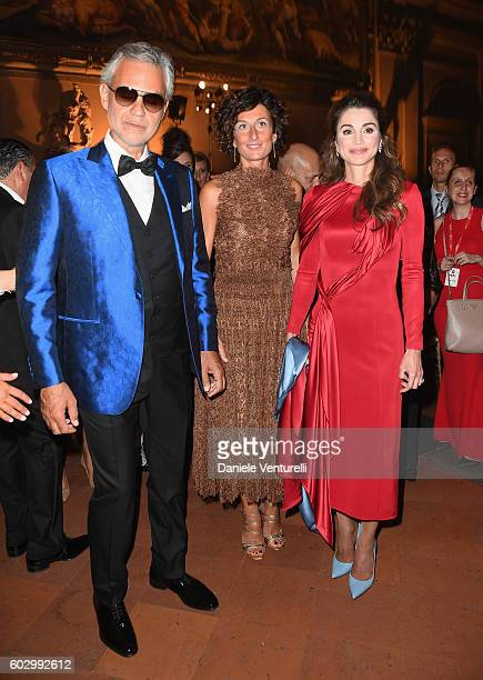 Andrea Bocelli Agnese Renzi and Queen Rania of Jordan attend the Celebrity Fight Night gala at Palazzo Vecchio as part of Celebrity Fight Night Italy...
