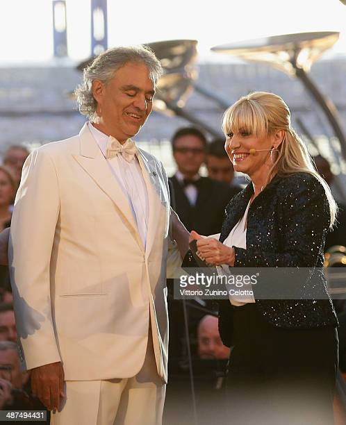 Andrea Bocelli and Antonella Clerici attend the celebration of the countdown to Expo 2015 on April 30 2014 in Milan Italy