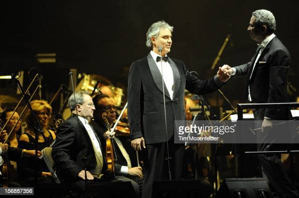Andrea Bocelli and Conductor Eugene Kohn perform in support of Andrea's Opera release at HP Pavilion on November 23 2012 in San Jose California