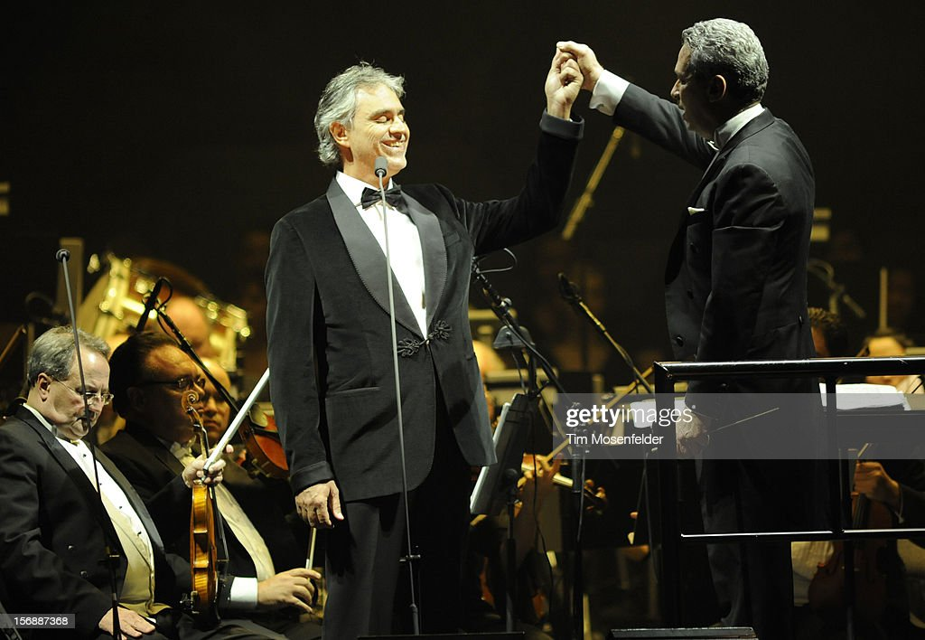 <a gi-track='captionPersonalityLinkClicked' href=/galleries/search?phrase=Andrea+Bocelli&family=editorial&specificpeople=211558 ng-click='$event.stopPropagation()'>Andrea Bocelli</a> (C) and Conductor Eugene Kohn perform in support of Andrea's Opera release at HP Pavilion on November 23, 2012 in San Jose, California.
