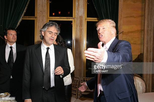 Andrea Bocelli and Donald Trump at the Andrea Bocelli concert at The MaraLago Club on February 28 2010 in Palm Beach Florida