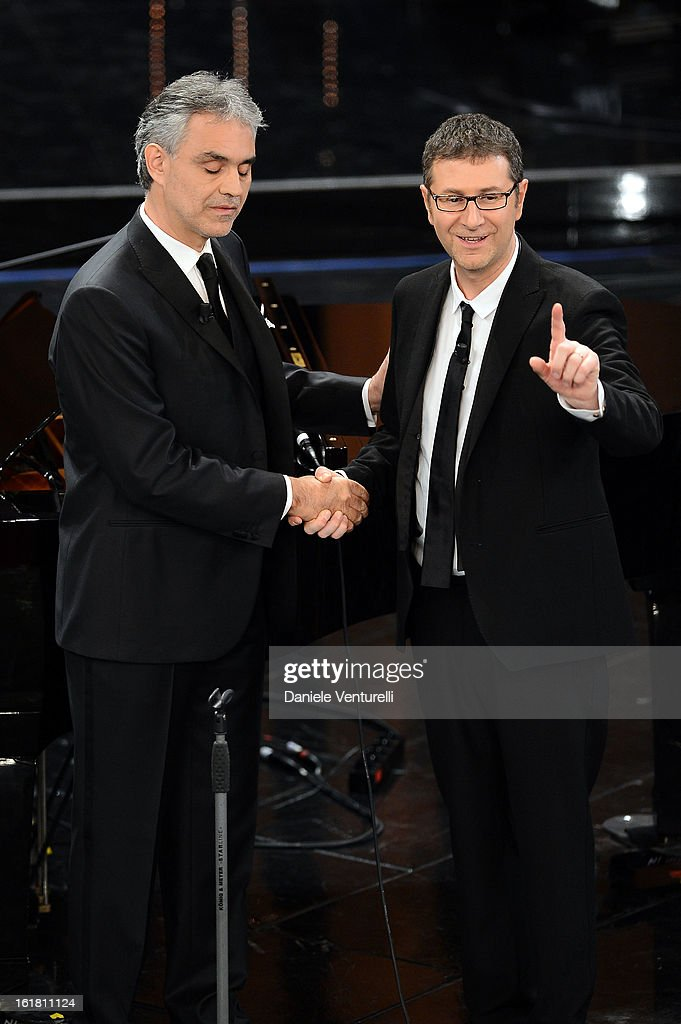 Andrea Bocelli and Fabio Fazio attend the closing night of the 63rd Sanremo Song Festival at the Ariston Theatre on February 16, 2013 in Sanremo, Italy.