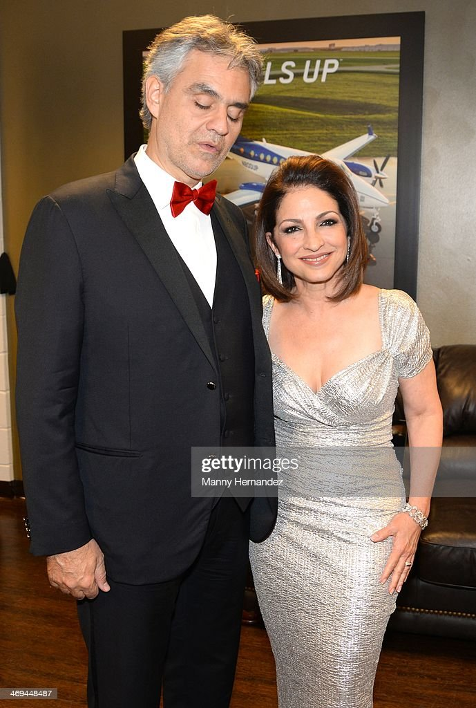 <a gi-track='captionPersonalityLinkClicked' href=/galleries/search?phrase=Andrea+Bocelli&family=editorial&specificpeople=211558 ng-click='$event.stopPropagation()'>Andrea Bocelli</a> and <a gi-track='captionPersonalityLinkClicked' href=/galleries/search?phrase=Gloria+Estefan&family=editorial&specificpeople=201703 ng-click='$event.stopPropagation()'>Gloria Estefan</a> backstage at BB&T Center on February 14, 2014 in Sunrise, Florida.