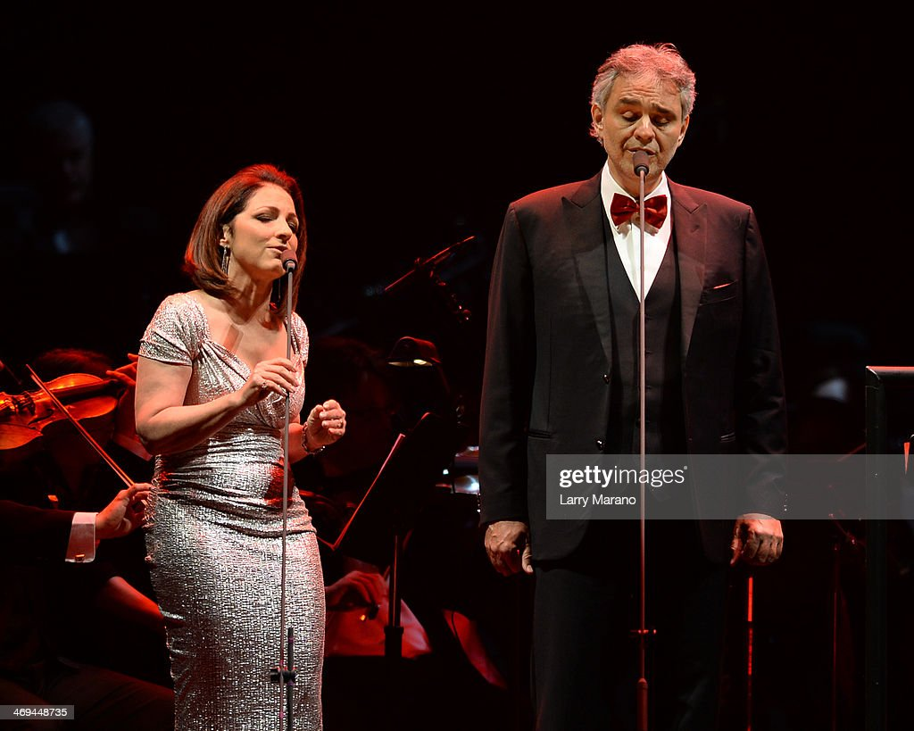 Andrea Bocelli and Gloria Estefan perform during Bocelli's Valentines Day concert at BB&T Center on February 14, 2014 in Sunrise, Florida.