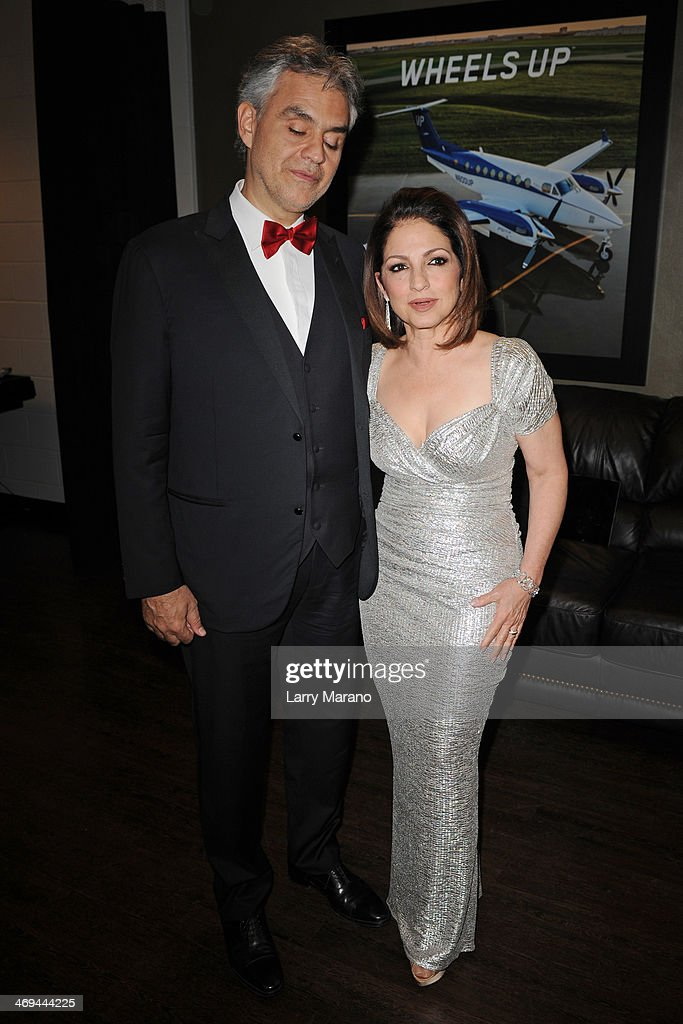 Andrea Bocelli and Gloria Estefan pose backstage during Bocelli's Valentines Day concert at BB&T Center on February 14, 2014 in Sunrise, Florida.