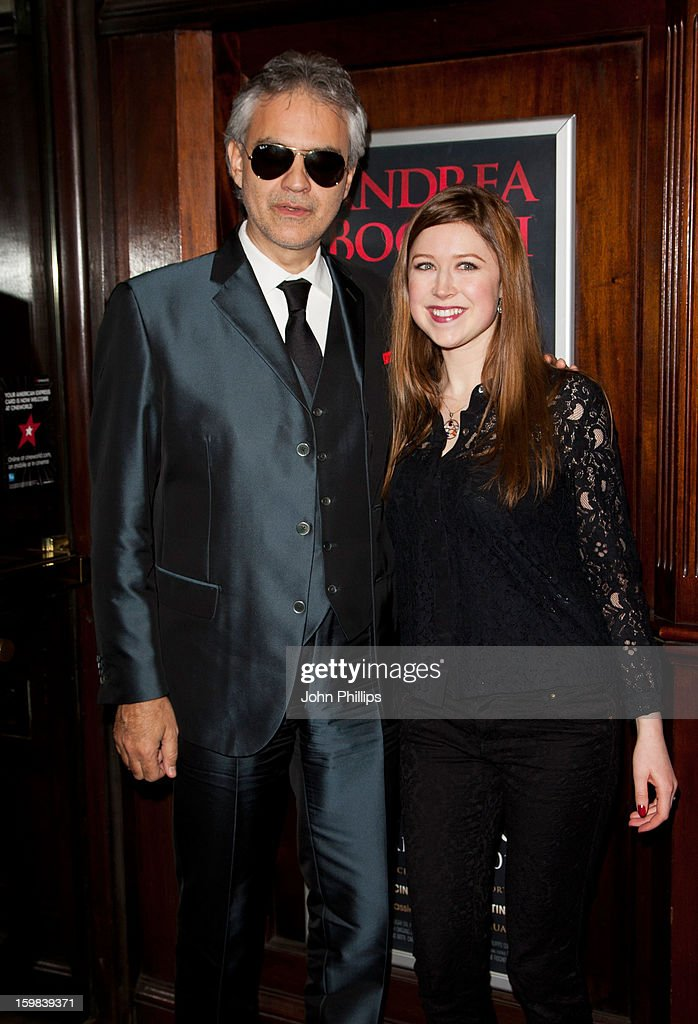 Andrea Bocelli and Hayley Westenra attend the VIP screening of 'Love in Portofino' on January 21, 2013 in London, England.