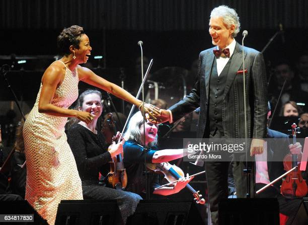 Andrea Bocelli and Heather Headley perform at Amway Center on February 11 2017 in Orlando Florida