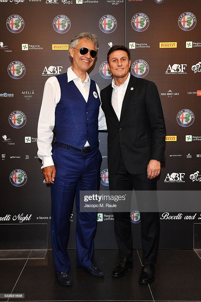 Andrea Bocelli and Javier Zanetti attend Bocelli and Zanetti Night press conference on May 24, 2016 in Arese, Italy.