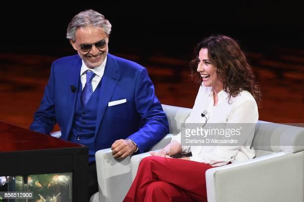 Andrea Bocelli and Luisa Ranieri attend 'Che Tempo Che Fa' TV Show on October 1 2017 in Milan Italy