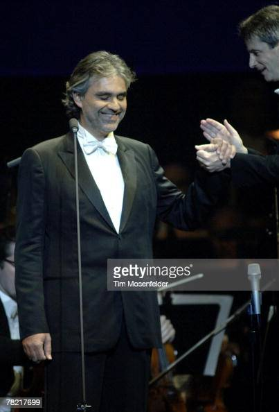 Andrea Bocelli and Steven Mercurio peform in support of Andrea's 'Vivere The Best of Andrea Bocelli' release at HP Pavilion on December 2 2007 in San...