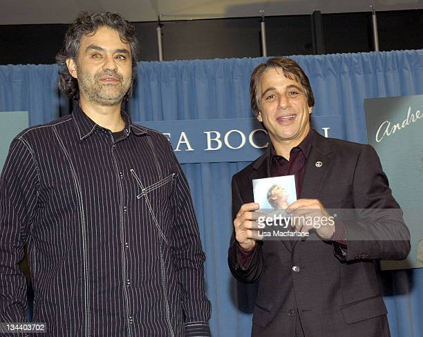 Andrea Bocelli and Tony Danza during Tony Danza Hosts Andrea Bocelli CD Signing November 17 2004 at Barnes Noble in New York City New York United...