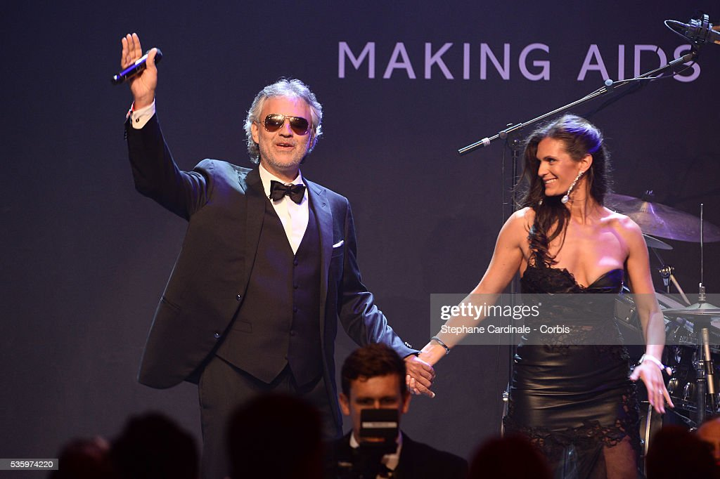 Andrea Bocelli and Veronica Berti at the amfAR's 21st Cinema Against AIDS Gala at Hotel du Cap-Eden-Roc during the 67th Cannes Film Festival