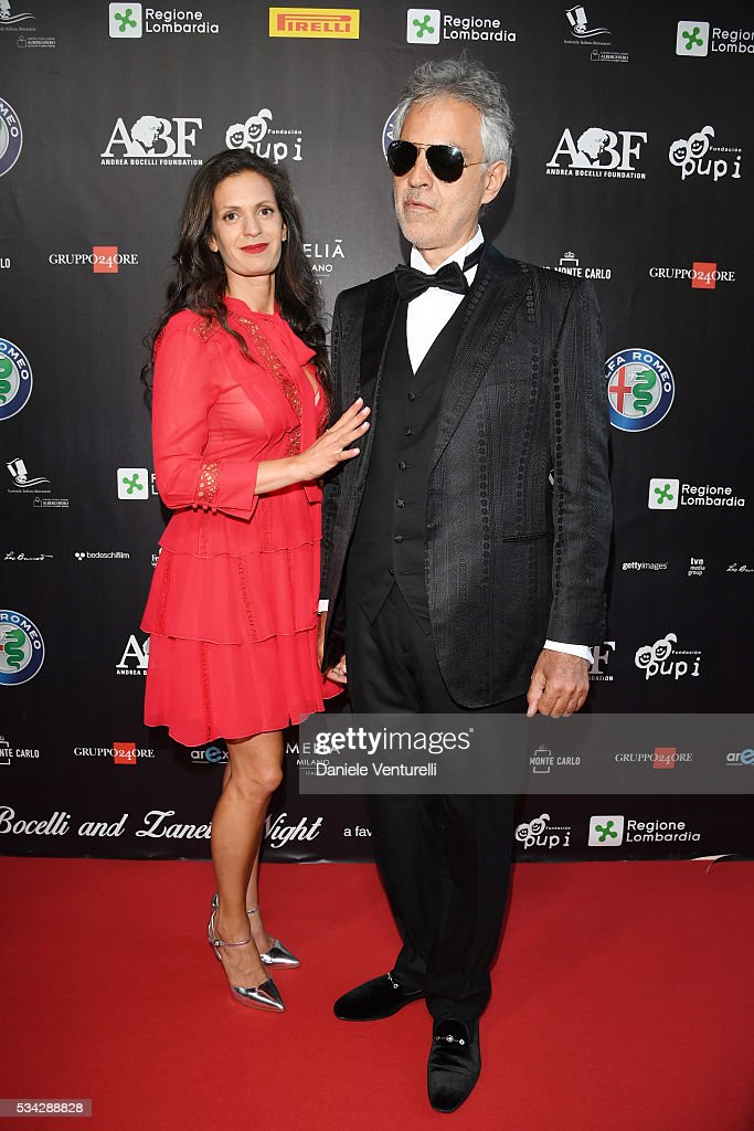 <a gi-track='captionPersonalityLinkClicked' href=/galleries/search?phrase=Andrea+Bocelli&family=editorial&specificpeople=211558 ng-click='$event.stopPropagation()'>Andrea Bocelli</a> and Veronica Berti walk the red carpet of Bocelli and Zanetti Night on May 25, 2016 in Rho, Italy.