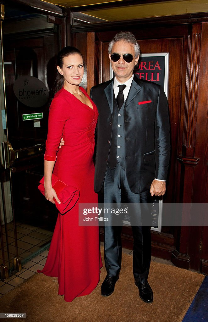 Andrea Bocelli and wife Veronica Berti attend the VIP screening of 'Love in Portofino' on January 21, 2013 in London, England.