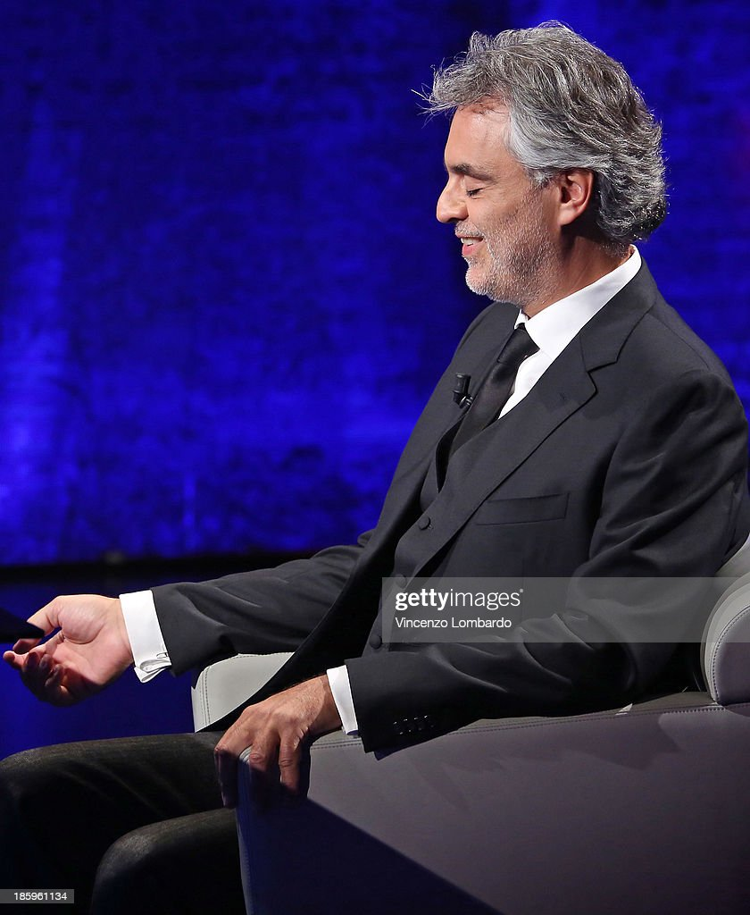 <a gi-track='captionPersonalityLinkClicked' href=/galleries/search?phrase=Andrea+Bocelli&family=editorial&specificpeople=211558 ng-click='$event.stopPropagation()'>Andrea Bocelli</a> appears on tv show 'Che Tempo Che Fa' on October 26, 2013 in Milan, Italy.