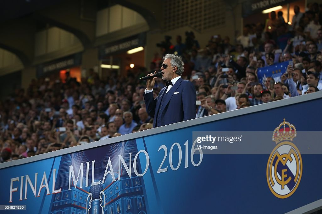 Andrea Bocelli during the UEFA Champions League final match between Real Madrid and Atletico Madrid on May 28, 2016 at the Giuseppe Meazza San Siro stadium in Milan, Italy.