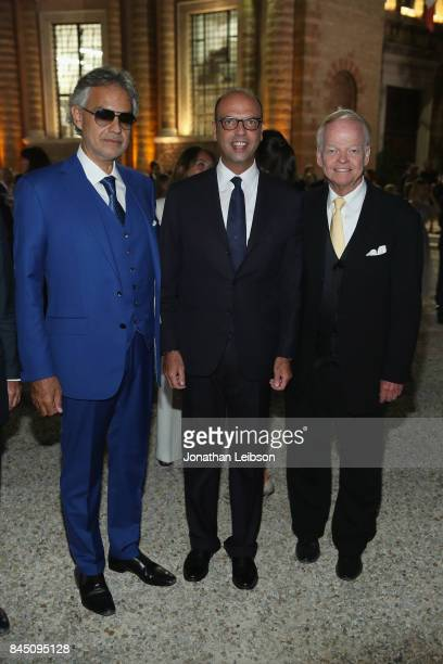 Andrea Bocelli Italy's Foreign Affairs Minister Angelino Alfano and Jimmy Walker attend the Dinner at Villa Madama as part of the 2017 Celebrity...