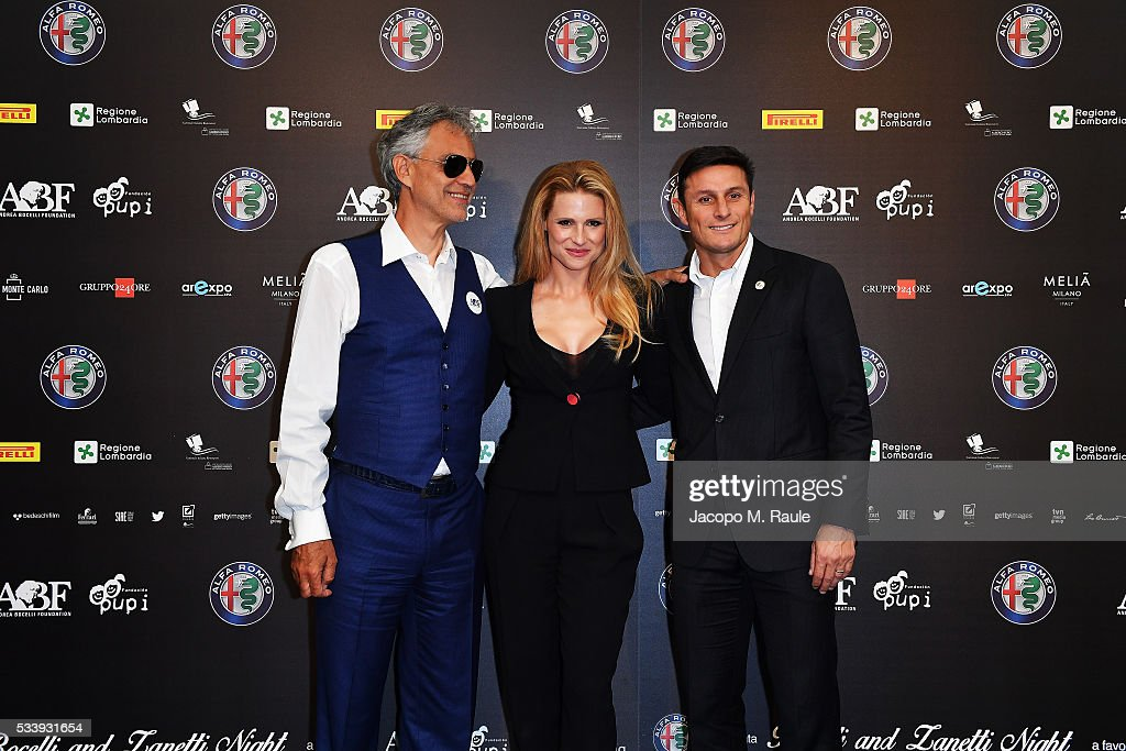 Andrea Bocelli, Michelle Hunziker and Javier Zanetti attend Bocelli and Zanetti Night press conference on May 24, 2016 in Arese, Italy.