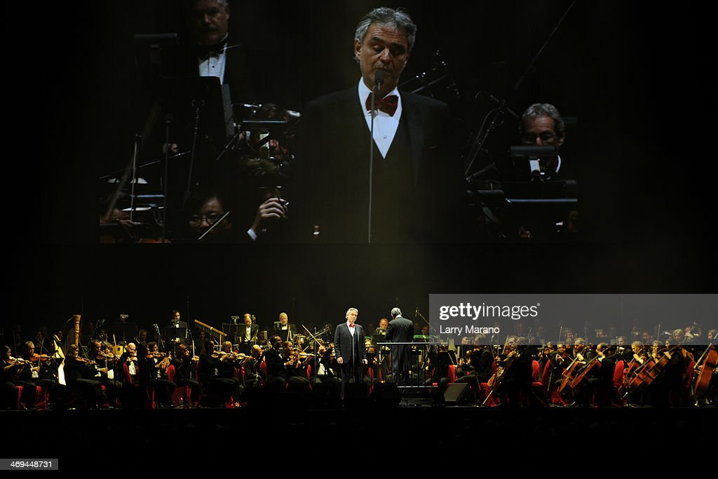 Andrea Bocelli performs a Valentines Day concert at BB&T Center on February 14, 2014 in Sunrise, Florida.
