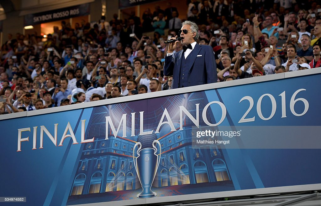 <a gi-track='captionPersonalityLinkClicked' href=/galleries/search?phrase=Andrea+Bocelli&family=editorial&specificpeople=211558 ng-click='$event.stopPropagation()'>Andrea Bocelli</a> performs during Champions League final opening ceremony during the UEFA Champions League Final match between Real Madrid and Club Atletico de Madrid at Stadio Giuseppe Meazza on May 28, 2016 in Milan, Italy.