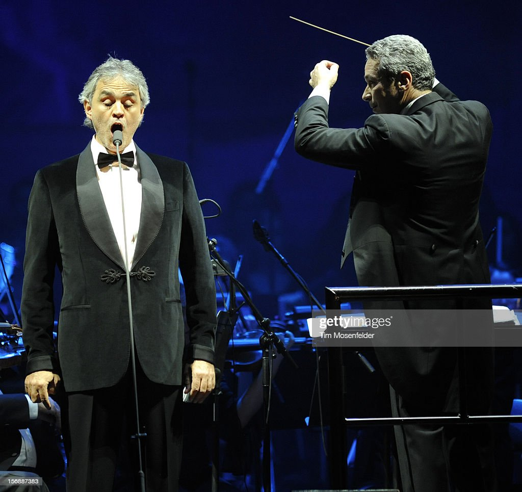 Andrea Bocelli (L) performs in support of his Opera release at HP Pavilion on November 23, 2012 in San Jose, California.