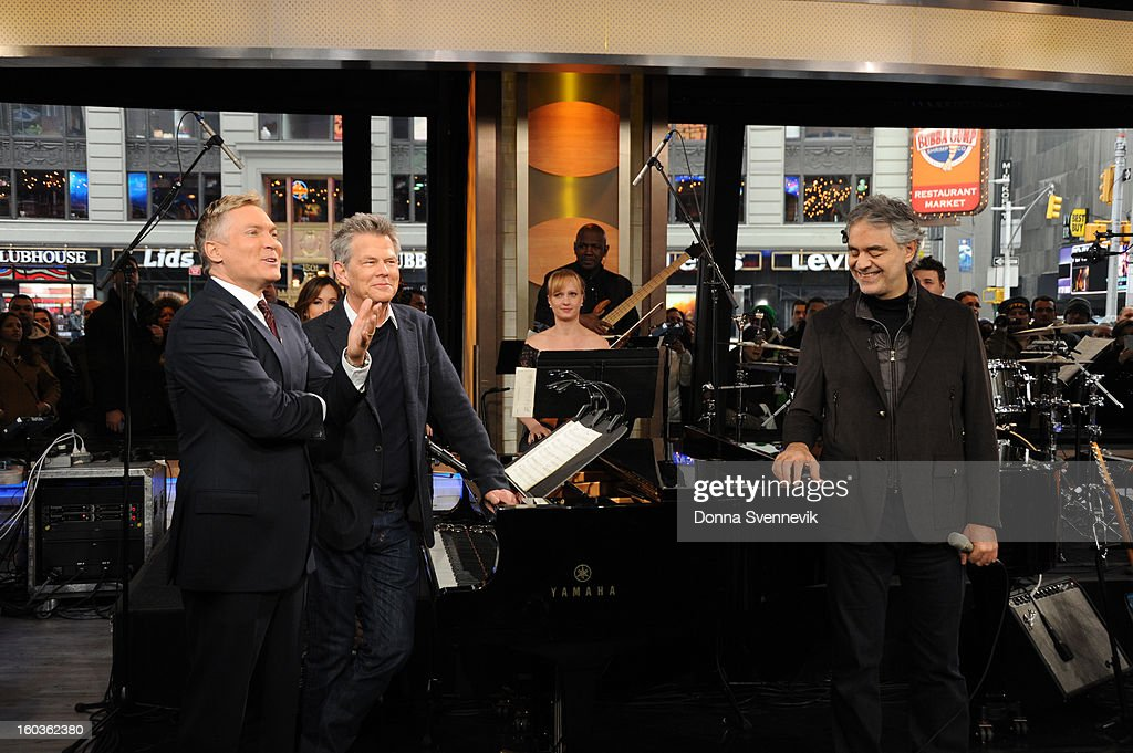 AMERICA - Andrea Bocelli performs live on 'Good Morning America,' 1/29/13, airing on the ABC Television Network. (Photo by Donna Svennevik/ABC via Getty Images) SAM CHAMPION, DAVID FOSTER, ANDREA BOCELLI