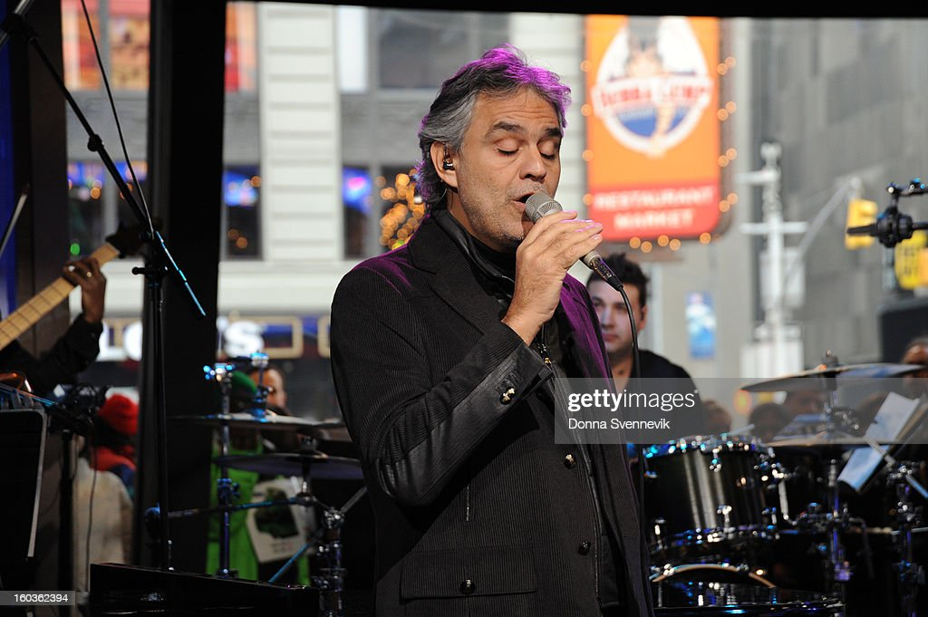AMERICA - Andrea Bocelli performs live on 'Good Morning America,' 1/29/13, airing on the ABC Television Network. (Photo by Donna Svennevik/ABC via Getty Images) ANDREA