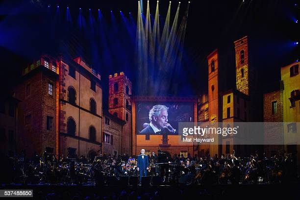 Andrea Bocelli performs on stage at KeyArena on June 1 2016 in Seattle Washington
