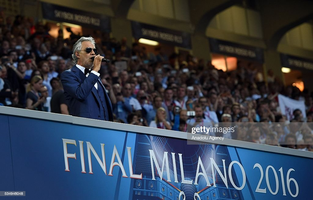 Andrea Bocelli performs prior to the UEFA Champions League Final between Real Madrid CF and Atletico Madrid at the Giuseppe Meazza Stadium in Milan, Italy on May 28, 2016 in Milan, Italy.